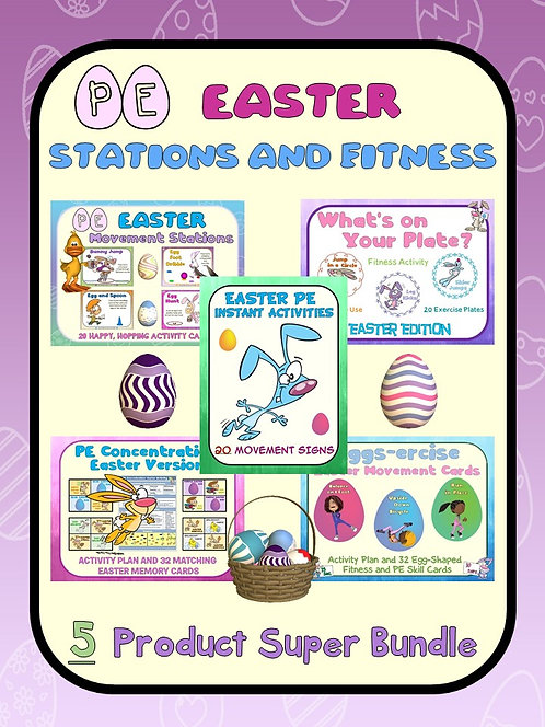 Easter PE Stations and Fitness- 5 Product Super Bundle