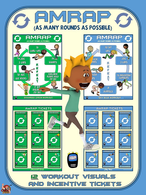 PE Activity: AMRAP (As Many Rounds as Possible)- 12 Visuals & Incentive Tickets