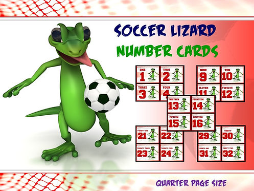 Number Cards: Soccer Lizard- Quarter Page Set (Numbers 1 - 32)