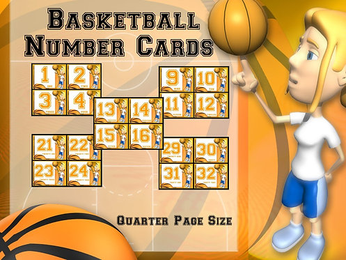 Number Cards: Basketball- Quarter Page Set (Numbers 1 - 32)