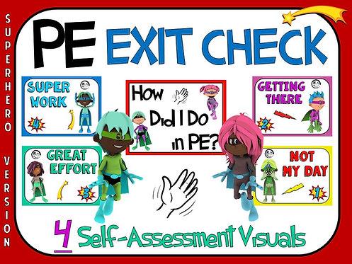 PE Exit Check- 4 Self-Assessment Visuals- Superhero Version