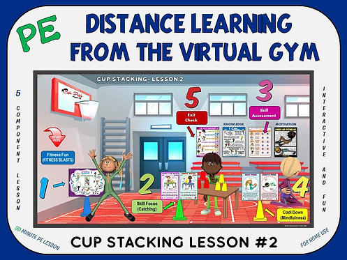 PE Distance Learning from the Virtual Gym- Cup Stacking Lesson #2