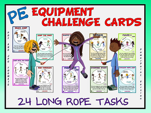 PE Equipment Challenge Cards - 24 Long Rope Tasks (includes Pow