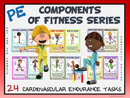 PE Component of Fitness Task Cards: 24 Cardiovascular Endurance Movements