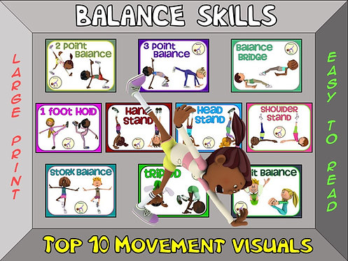 Balance Skills- Top 10 Movement Visuals- Simple Large Print Design