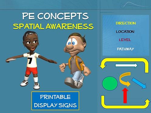 PE Concepts; Spatial Awareness- Printable Display Signs