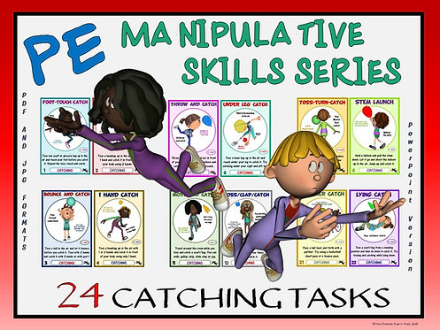 PE Manipulative Skill Series: 24 Catching Tasks- Great for Social Distancing