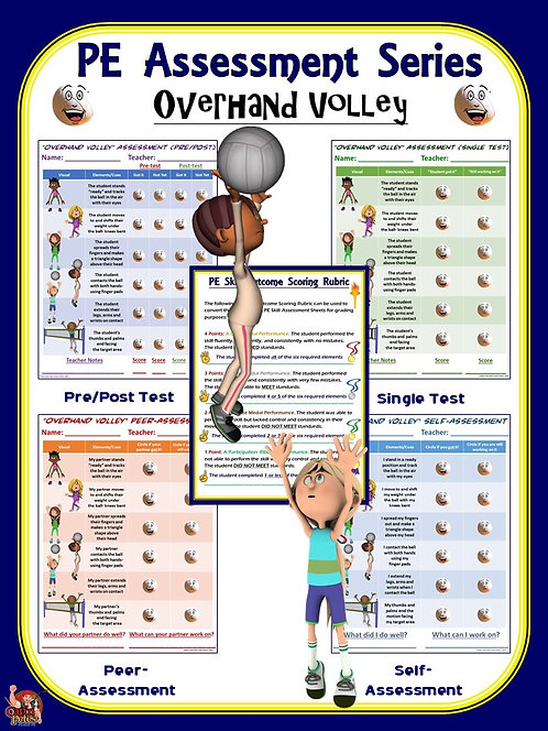 PE Assessment Series: Overhand Volley- 4 Versions