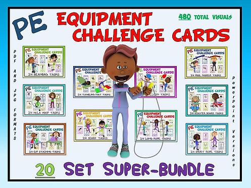 PE Equipment Challenge Cards - 20 Set SUPER BUNDLE (includes Power Points)