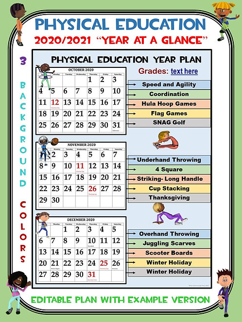 "Physical Education (2020/2021) ""Year at a Glance""- Editable Plan"