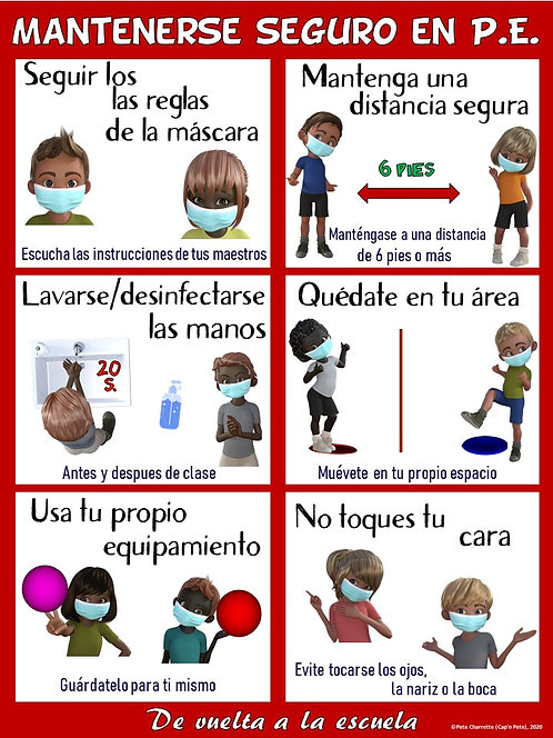 COVID-19 Visual Series- Staying Safe in PE: SPANISH VERSION (Re-entry to School)