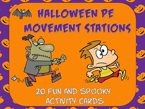 """Halloween PE Movement Stations- 20 """"Fun and Spooky"""" Activity Cards"""