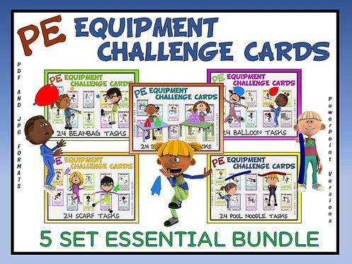PE Equipment Challenge Cards - 5 Set ESSENTIAL Bundle (includes Power Points)
