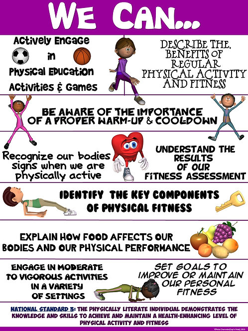 """PE Poster: """"We Can"""" Statements- Standard 3: Achieving a Higher Level of Fitness"""