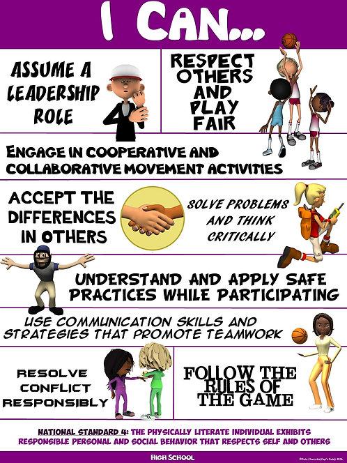 "PE Poster: ""I Can"" Statements- High School Version; Standard 4: Social Behavior"