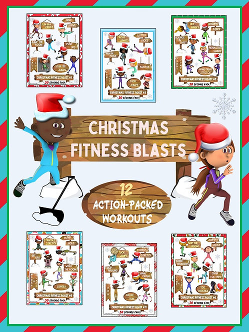 Christmas Fitness Blasts- 12 FUN Workouts- Great for Distance Learning