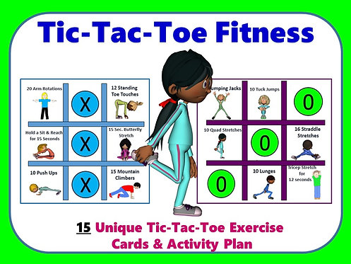 Tic-Tac-Toe Fitness- 15 Unique Tic-Tac-Toe Exercise Cards & Activity Plan