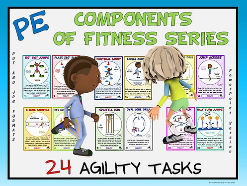 PE Component of Fitness Task Cards: 24 Agility Movements