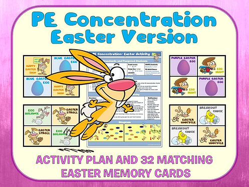 PE Concentration: Easter Version- Activity Plan with 32 Matching Cards