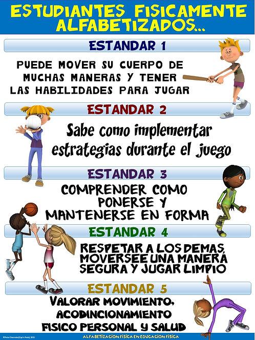 Cartel de la educación física: Estudiantes Fisicamente Alfabetizados...