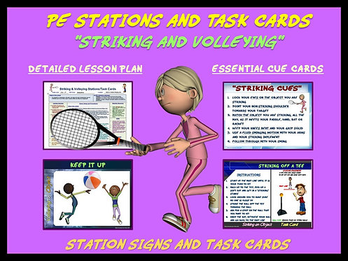 "PE Skill Stations and Task Cards- ""Striking and Volleying"""