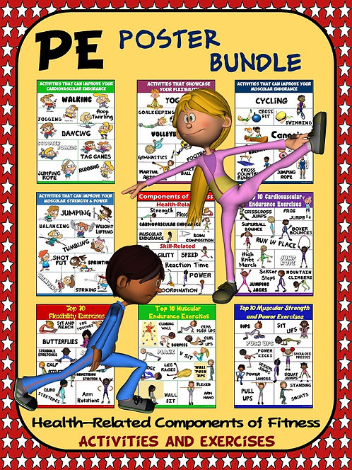 PE Poster Bundle: Health Components of Fitness- 9 Activity and Exercise Posters