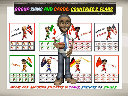 Group Signs and Cards: Countries and Flags