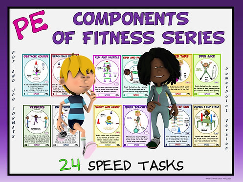PE Component of Fitness Task Cards: 24 Speed Movements