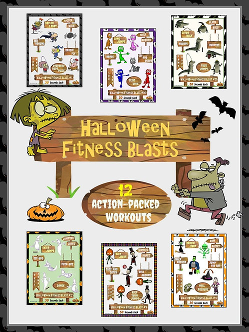Halloween Fitness Blasts- 12 FUN Workouts- Great for Distance Learning