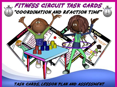 """Fitness Circuit Task Cards- """"Coordination and Reaction Time"""""""