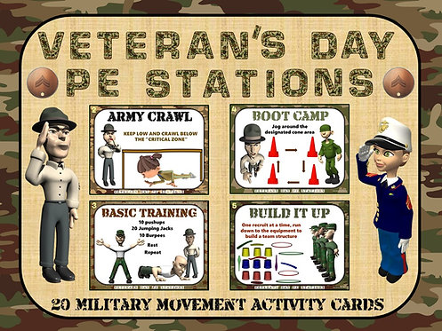 "Veteran's Day PE Stations- 20 ""Military Movement"" Activity Cards"