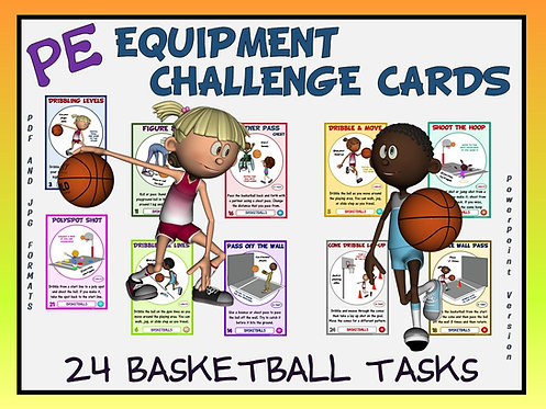 PE Equipment Challenge Cards - 24 Basketball Tasks (includes Powe