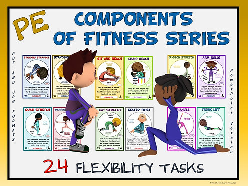 PE Component of Fitness Task Cards: 24 Flexibility Movements- Distance Learning