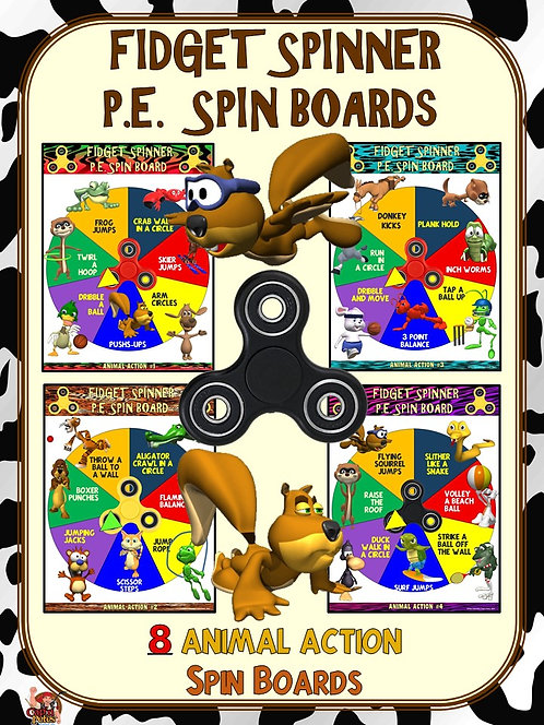 Fidget Spinner PE Spin Boards- 8 Animal Action Spin Boards