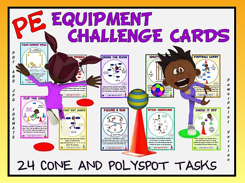 PE Equipment Challenge Cards - 24 Cone and Polyspot Tasks (includes PowerPoint)
