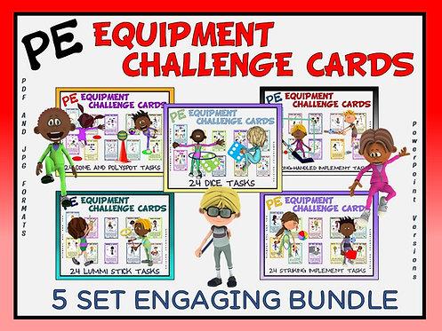 PE Equipment Challenge Cards - 5 Set ENGAGING Bundle (includes Power Points)