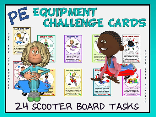 PE Equipment Challenge Cards - 24 Scooter Board Tasks (includes Pow