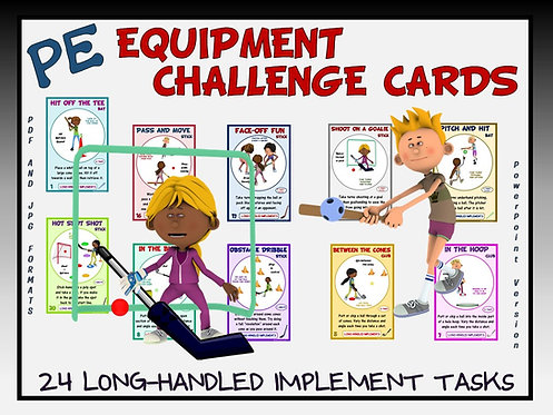 PE Equipment Challenge Cards - 24 Long Handled Implement Tasks (includes PP)