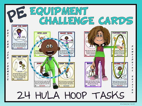 PE Equipment Challenge Cards - 24 Hula Hoop Tasks (includes PowerP
