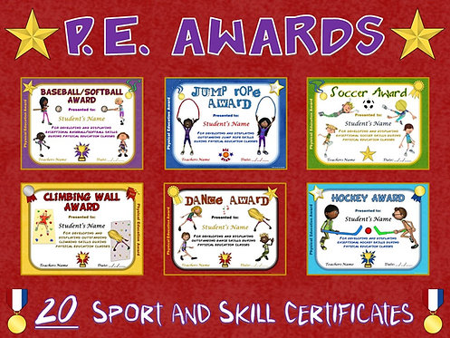 PE AWARDS- 20 Sport and Skill Certificates