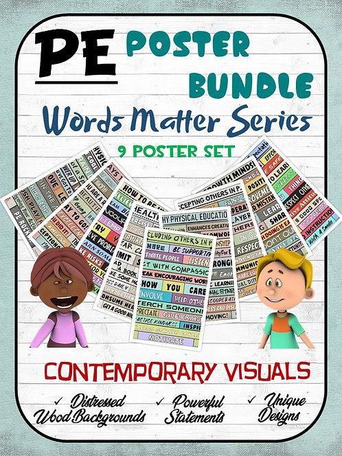 PE Poster Bundle: Words Matter Series - 9 Visual Set