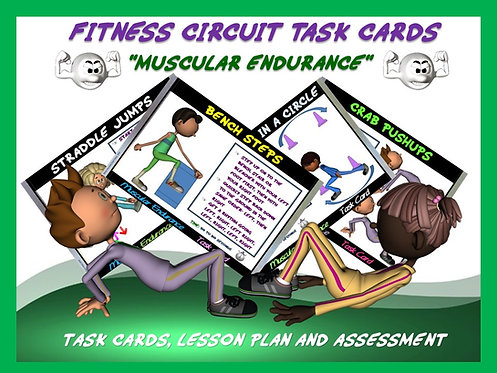 "Fitness Circuit Task Cards- ""Muscular Endurance"""