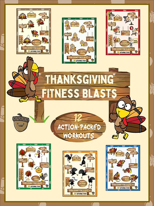 Thanksgiving Fitness Blasts- 12 FUN Workouts- Great for Distance Learning