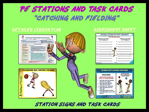 "PE Skill Stations and Task Cards- ""Catching and Fielding"""