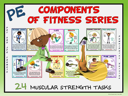 PE Component of Fitness Task Cards: 24 Muscular Strength Movements