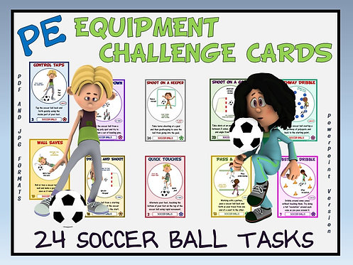 PE Equipment Challenge Cards - 24 Soccer Ball Tasks (includes PowerPoint)