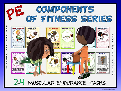 PE Component of Fitness Task Cards: 24 Muscular Endurance Movements