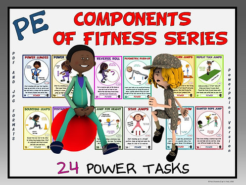 PE Component of Fitness Task Cards: 24 Power Movements