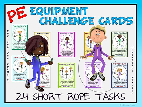 PE Equipment Challenge Cards - 24 Short Rope Tasks (includes PowerPoint)