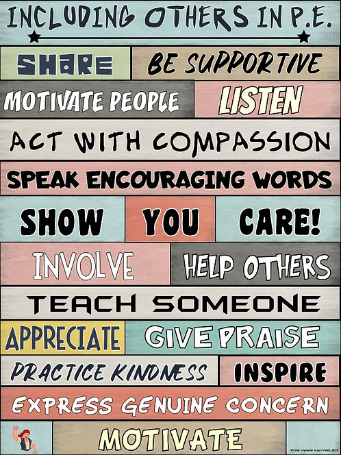 PE Poster: WORDS MATTER- Including Others in P.E. Visual